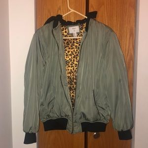 Green bomber puffer jacket perfect condition